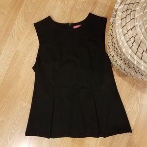 Catherine black sleeveless stretchy peplum top